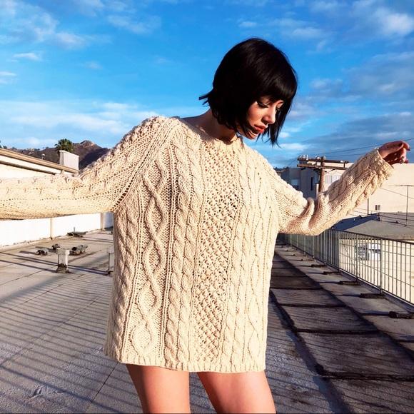 e873645430a 60s Minimalist Chunky Wool Cableknit Sweater Dress.  M 5a52a0d9d39ca21f5602bae5